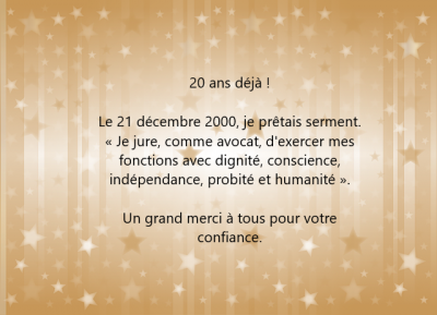 20 ans de Barreau